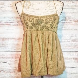 Free people Top Green Boho Floral Size XS